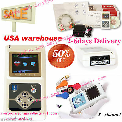 £217.50 • Buy 24 Hours 3 Channel ECG ECG/EKG Holter Monitor System CONTEC TLC9803,