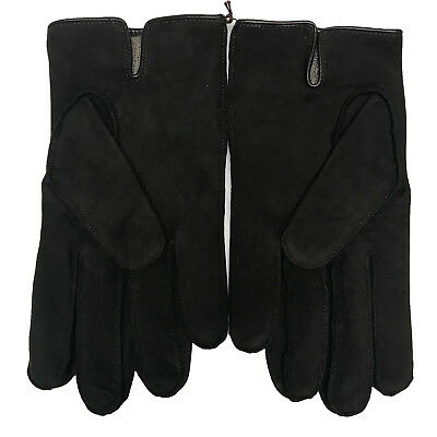 $64 • Buy Coach Gloves Mens 100% Leather Nubuck Cashmere Lined, Mahogany 83897, $128