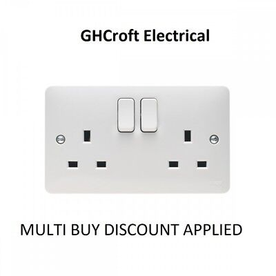 £4.75 • Buy Hager Sollsyta 13A 2 Gang Double Pole Dual Earth Switched Socket - MULTI BUY