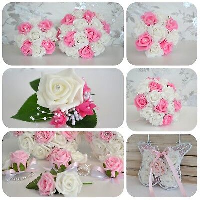 £4.95 • Buy Wedding Bouquet Posy. PINK Design. Choose Ivory Or White From Drop Down Menu
