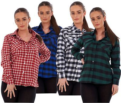 £8.95 • Buy Ladies Casual Flannel Shirts Brushed Cotton Check Long Sleeve Pleated M To 5XL