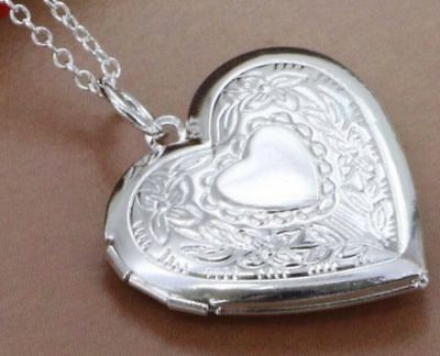 AU7.89 • Buy Stunning 925 Sterling Silver Plated Heart LOCKET Photo Charm Pendant Necklace