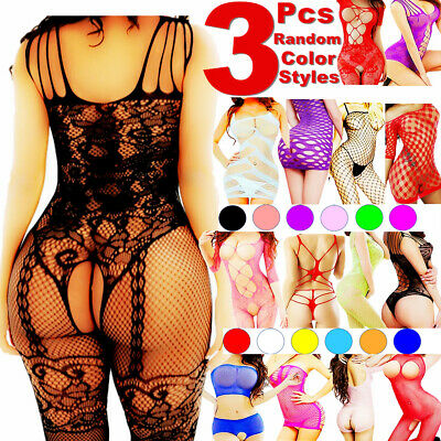 $9.92 • Buy 3 Women Bodystocking Sexy Lingerie Babydoll Bodysuit Sleepwear Stocking Dress US