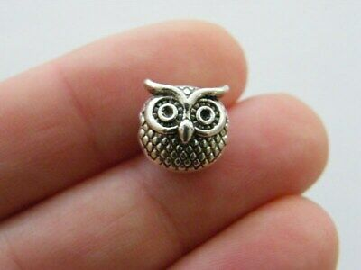 8 Owl  Spacer Bead Charms Antique Silver Tone B337 • 2.30£