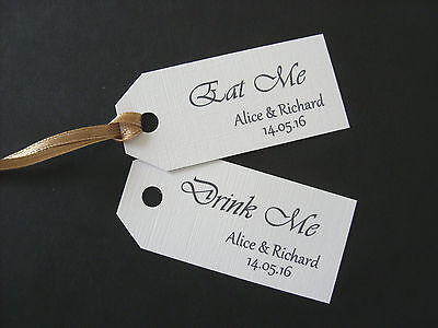 £1.50 • Buy Personalised  Eat Me  Or  Drink Me  Favour Tags X 12 White/Ivory