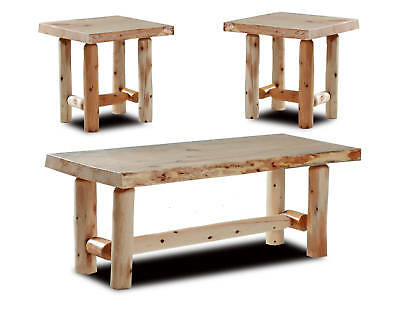 $265 • Buy Rustic Log Coffee And End Table Set Pine And Cedar Bed Furniture