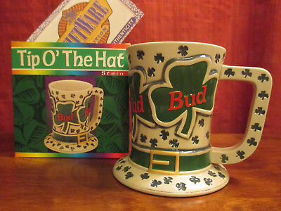$ CDN33.33 • Buy Budweiser St Patrick Day Series Tip Of The Hat Stein CS242 1995 Box And COA