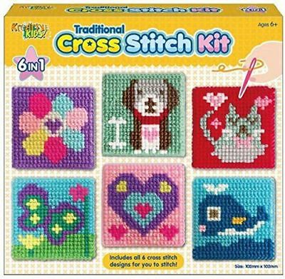 £7.89 • Buy Craft Set Cross Stitch Kit Kids 6 Traditional Children Designs Tapestry Sewing