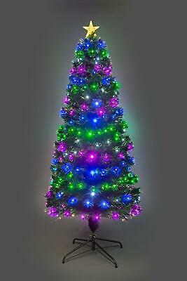 7ft Fibre Optic Remote Controlled Pre Lit Christmas Tree Xmas Home Decorations • 124.99£