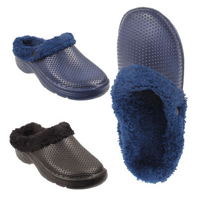 £8.75 • Buy Mens Fur Lined Cosy Clogs Slip On Winter Sandals Garden Shoes Slippers UK Sizes