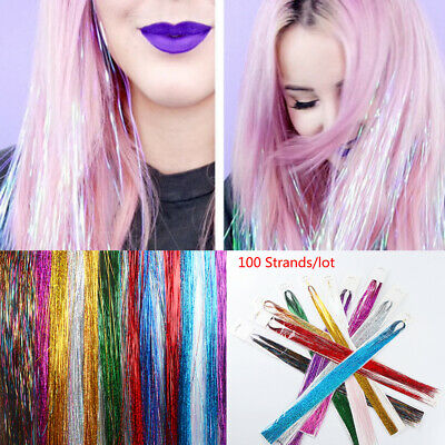 100 Strands Sparkle Hair Tinsel Bling Silk Glitter Rainbow Hair Extensions • 1.98£
