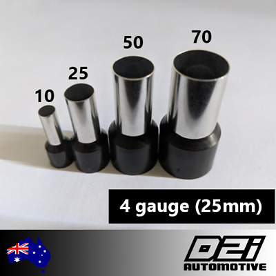 AU12.99 • Buy 25mm 4 AWG Gauge Bootlace Wire Ferrule 2x 5x 10x Ferrules REGISTERED TRACKING