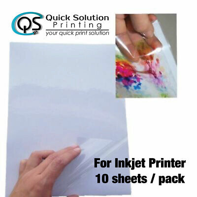 AU11 • Buy A4 Transparent Clear Glossy Sticker Paper Label For Inkjet Printer 10 Sheet/pack