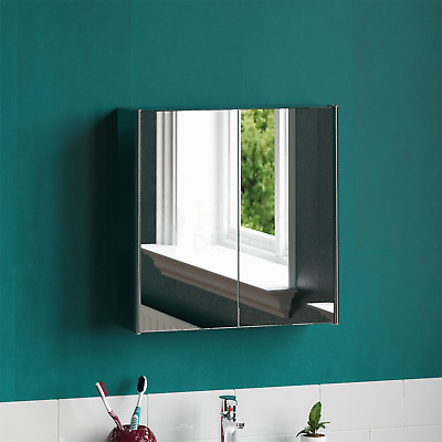 Tiano Double Door Stainless Steel Mirrored Wall Mounted Bathroom Cabinet • 41.90£