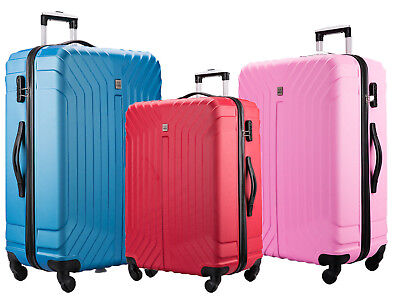 Hard Shell PC+ABS Cabin Suitcase 4 Wheel Travel Luggage Trolley Lightweight Case • 21.99£
