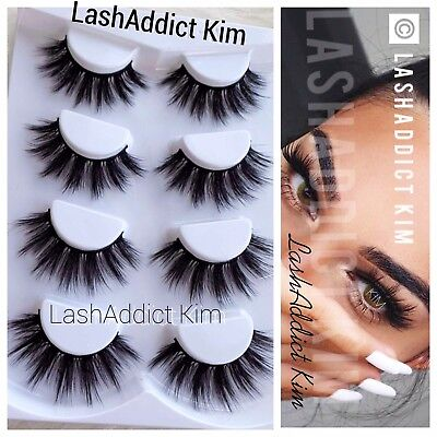 34b58703c8c 4 Pairs Top 3D 100% Mink Soft Long Thick Makeup Eye Lashes False Eyelashes