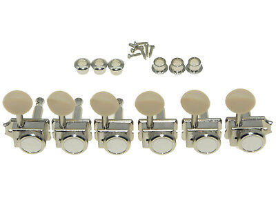 $ CDN23.60 • Buy Vintage Style Locking  Guitar Tuners Pegs For Strat/Tele  Nickel W/Ivory Button