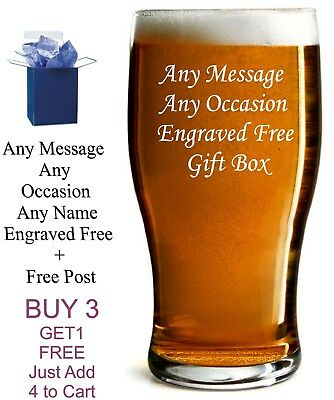 £8.99 • Buy Personalised Engraved Tulip Pint Glass 18th 21st 30th 50th 60th Birthday Gift