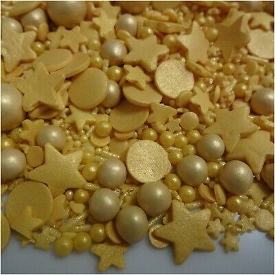 £5.50 • Buy Gold Cupcake Sprinkles Mix Edible Cake Toppers Decorations Wedding Anniversary