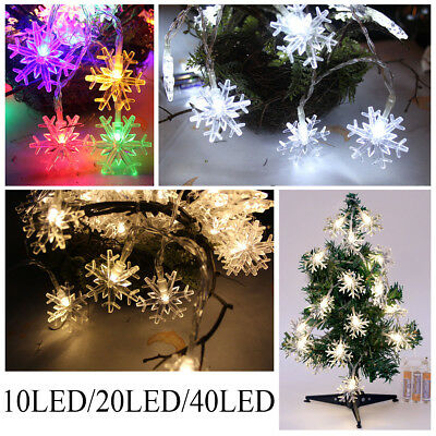 Snowflake Wired LED Lights String Fairy Christmas Tree Wedding Party Decoration • 1.99£