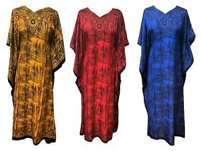 £7.99 • Buy  Free Size Kaftan Holiday Dress Beach Cover Up Fits 16,18,20,22,24,