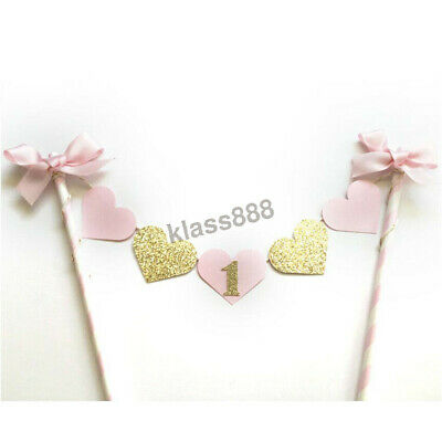 AU7.50 • Buy Glitter Gold Pink Heart Baby Girl First 1st Birthday Party Cake Flag Topper