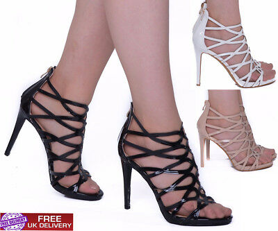 Womens High Stiletto Heels Sandals Cut Out Caged Ladies Strappy Party Girl Shoes • 5£