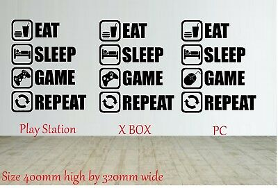 Funny Eat Sleep Game Repeat Game Gaming Wall Art Man Cave X Box Play Station Pc • 4.99£