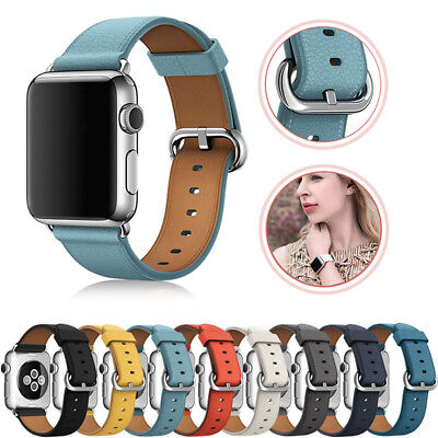 AU13.69 • Buy For Apple Watch Series 5 4 3 2 Leather IWatch Band Strap Bracelet+Classic Buckle