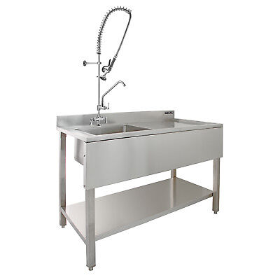 Commercial Sink Catering Kitchen RH Drainer 1.0 Bowl & Pre-Rinse Spray Mixer Tap • 499.99£