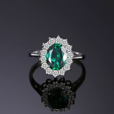 £15.81 • Buy Princess Diana William Kate Middleton Emerald Ring Solid 925Sterling Silver Ring