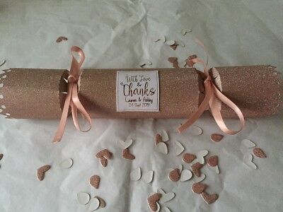 Personalised Wedding Favour Crackers Blush Pink/Rose Gold Glitter Qtys 1-50 • 2.99£
