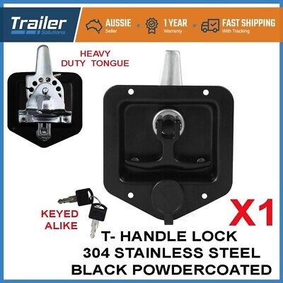 AU28.99 • Buy X1 Black T Handle Lock. Stainless Steel, Flush Mount, Tool Box, Canopy Trailer