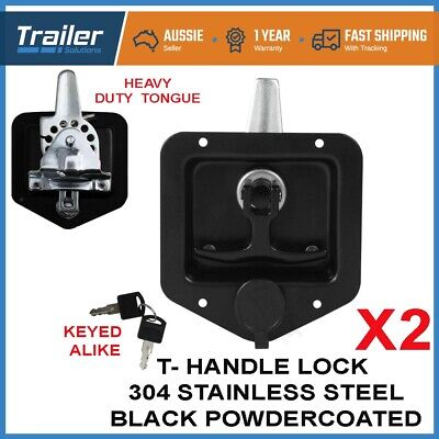 AU49.50 • Buy X2 Black T Handle Lock. Stainless Steel, Flush Mount, Tool Box, Camper Trailer