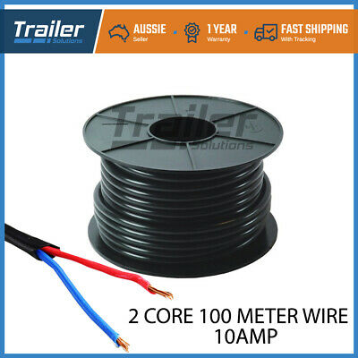 AU109.25 • Buy 100m Of 2 Core 10 Amp Wire Cable Truck Trailer Boat Wiring Led Light Kit Car