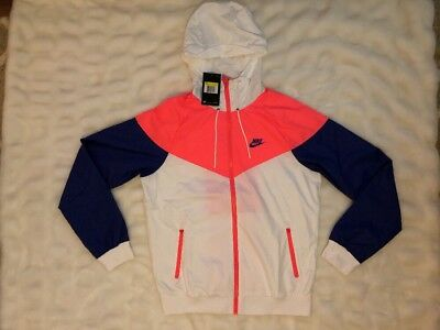 af697d75c5 Mens Nike Sportswear Windrunner Hooded Jacket Size Small NWT 727324 White  Pink ~ • 55.79