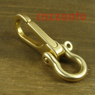 £7.02 • Buy Brass Key Chain Ring Belt Snap Hook Clip + U Shackle For Fob Wallet Chain H322