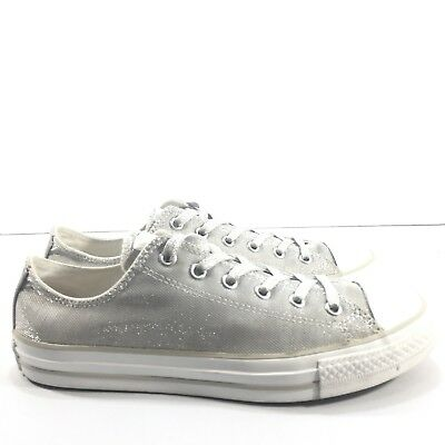 884f6e5ba0db Converse All Star Youth Size 5 Silver Glitter Sparkle Low Top Shoes  Sneaker- EUC •