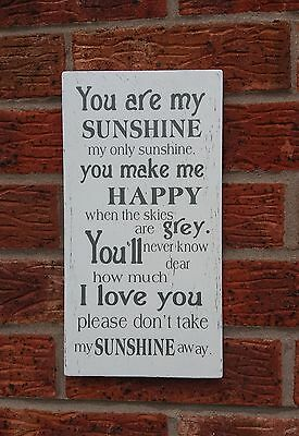 YOU ARE MY SUNSHINE Sign Shabby Vintage Chic Plaque Large 12 X 6 • 7.99£