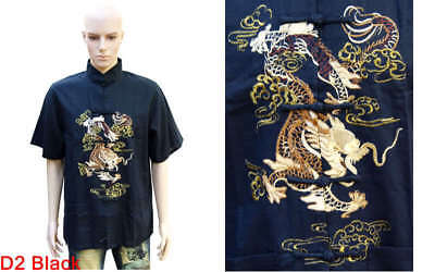 Chinese Oriental Flax Cotton Mens Kung Fu Style Top Shirt Embroidered Dragons D2 • 15.99£