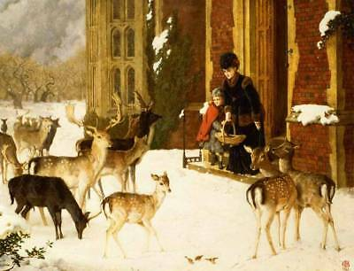 £11.29 • Buy Old Time Mother And Daughter Feeding Deer In Winter By Charles Burton Barber