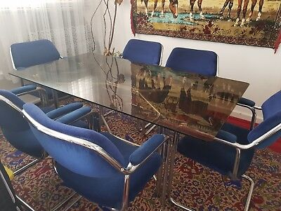 AU3000 • Buy Vintage Cantilever Dining Chairs X 6 And Matching Glass Table Mid-century Retro