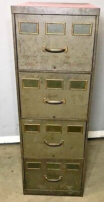 Vintage Industrial File Cabinet 4 Draw   3 Brass Name Plates Each Draw    Retro U2022