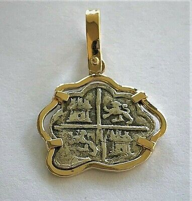 ATOCHA Coin Pendant 14k Gold Freeform 4 Reale Silver Treasure Shipwreck Jewelry • 215$