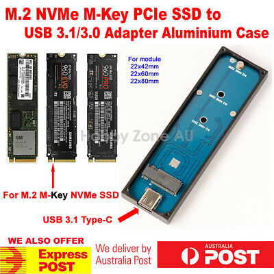 AU82.85 • Buy M.2 NVMe M-Key PCIe SSD To USB 3.1 Type-C 10Gbps Adapter External Enclosure Case
