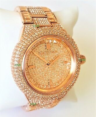 c3624c3df495 Michael Kors Women s Watch Camille Rose Gold Tone Pave Glitz W MK5862  Genuine AA • 134.95