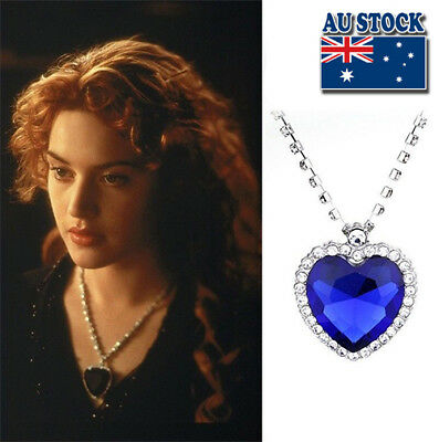 AU7.98 • Buy Hot Film Titanic Heart Of The Ocean Silver Tone Blue Crystal Pendant Necklace