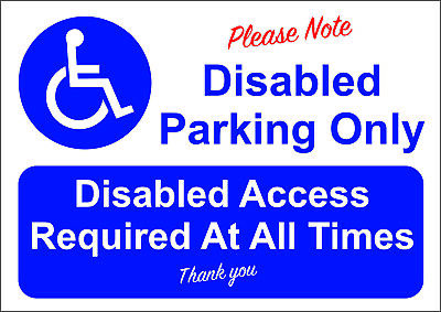 £6 • Buy Disabled Parking Only A5/a4/a3 Sticker Or Foamex Sign