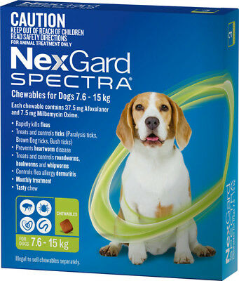 AU99.33 • Buy NexGard SPECTRA For Dogs 7.6 - 15kg GREEN
