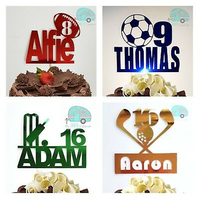 £5.49 • Buy Sport Cake Topper Rugby Football Golf Cricket Birthday Boy Girl Any Name Colour